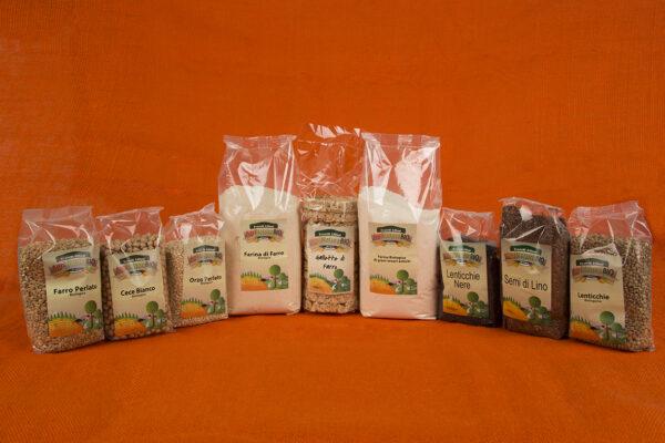 Pacchetto misto legumi farine semi di lino e cereali